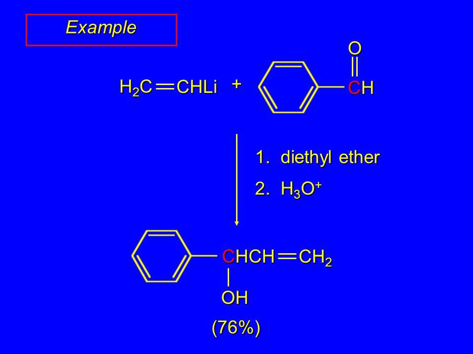 Example (76%) H2CH2CH2CH2CCHLi + CHCHCHCHO 1. diethyl ether 2. H 3 O + CH 2 CHCH OH