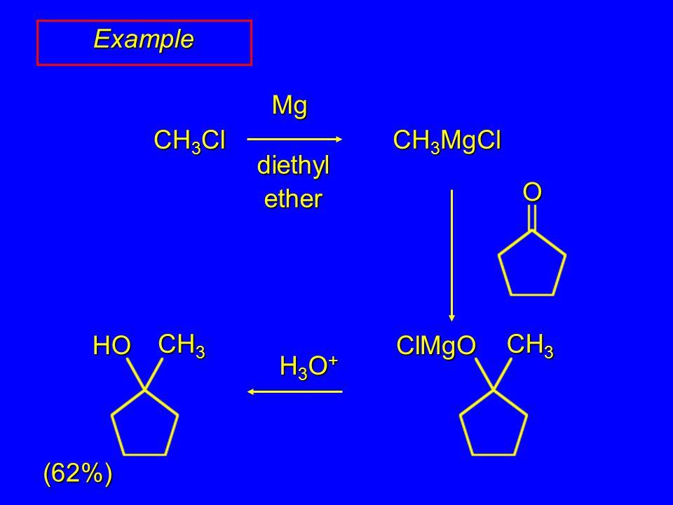 Example diethyl ether Mg H3O+H3O+H3O+H3O+ (62%) CH 3 Cl CH 3 MgCl O CH 3 ClMgO HO