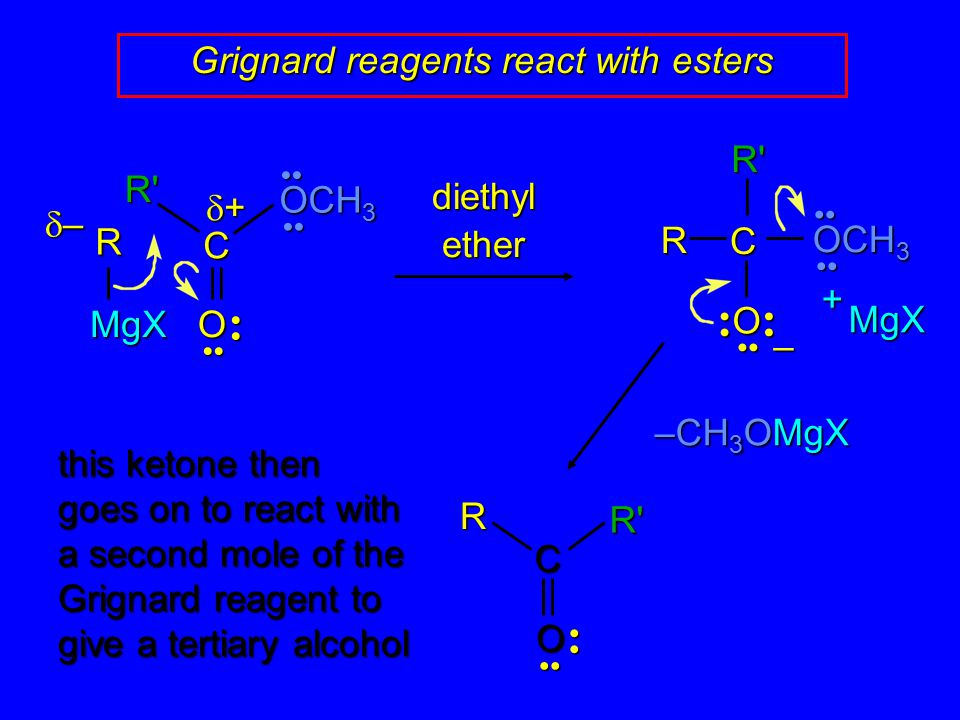 Grignard reagents react with esters RMgX C O – MgX + –––– ++++ R C O diethyl ether OCH 3 R' R' –CH 3 OMgX C ORR' this ketone then goes on to r