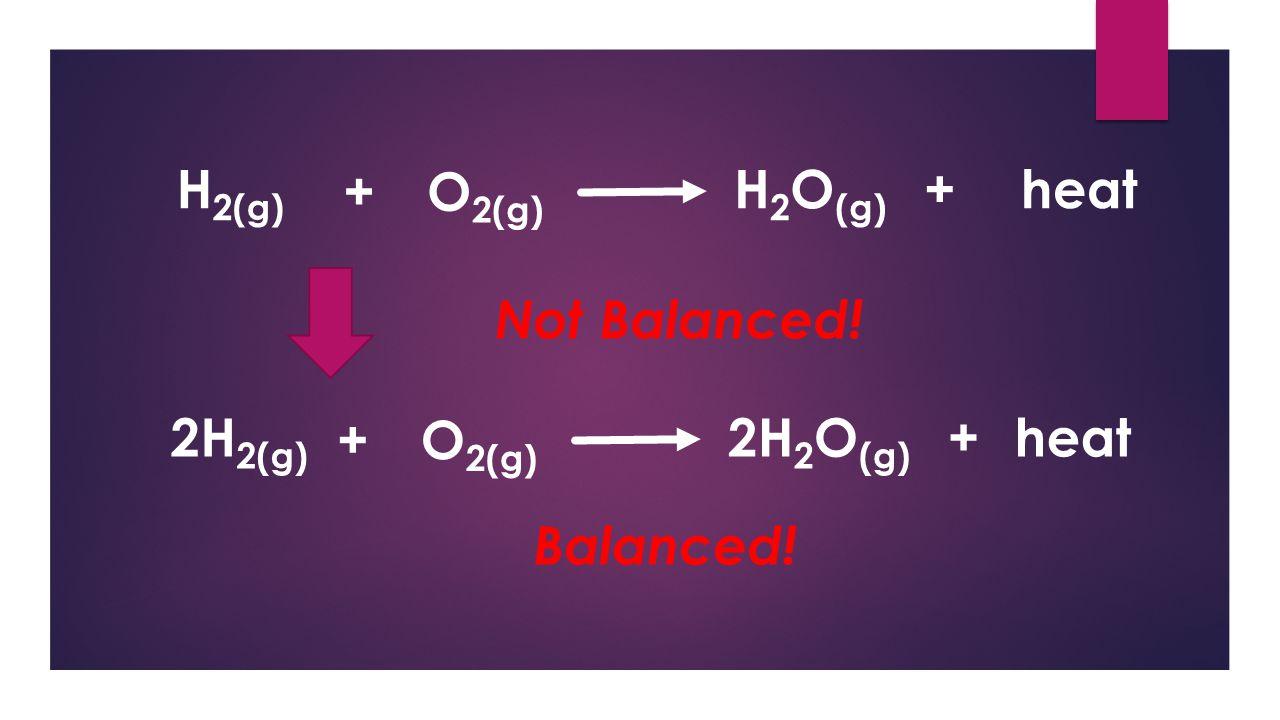 2H 2(g) 2H 2 O (g) O 2(g) + +heat Balanced Chemical Equation: 2 mole (H 2 )= 1 mole (O 2 )=2 mole (H 2 O) 4 g (H 2 ) = 32 g (O 2 ) = 36 g (H 2 O) Stoichiometric matched!
