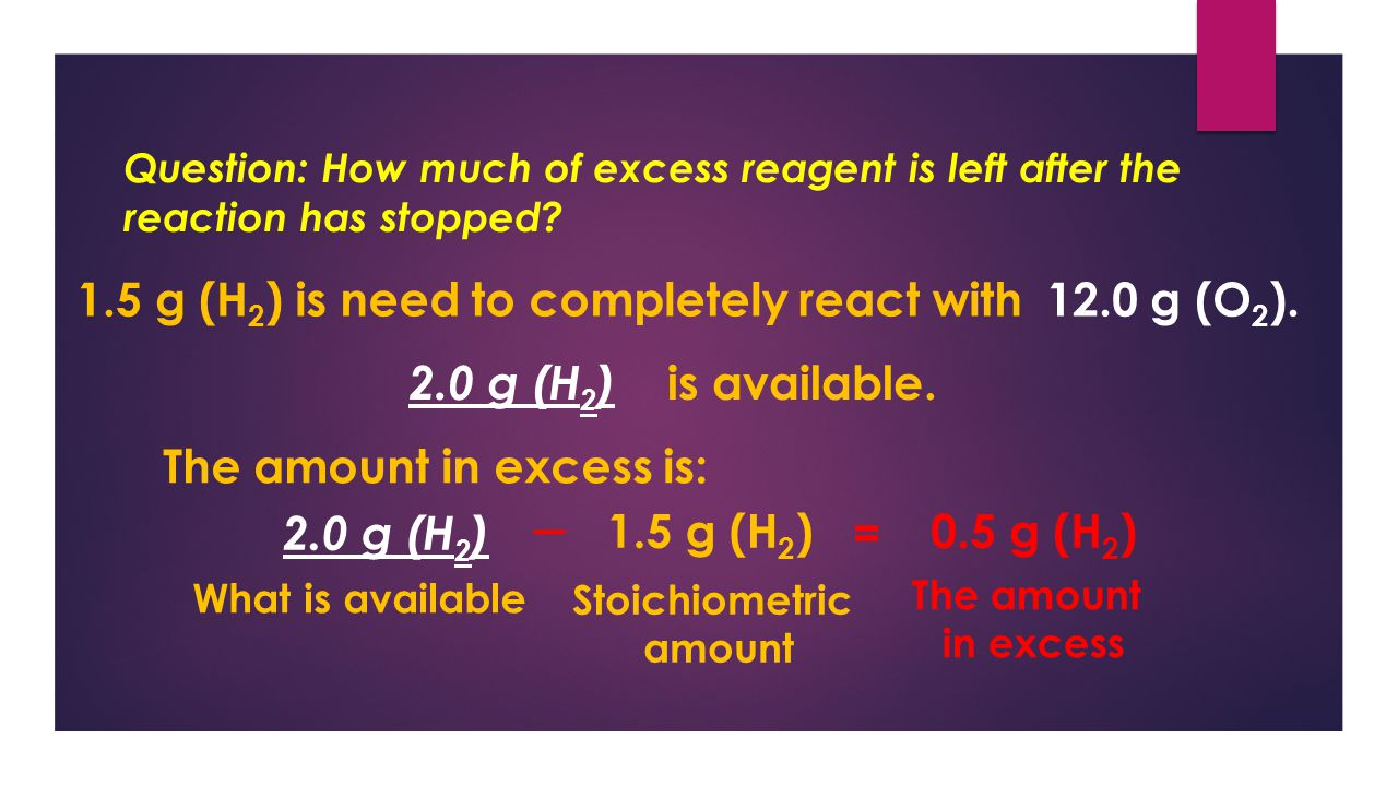 Question: How much of excess reagent is left after the reaction has stopped.