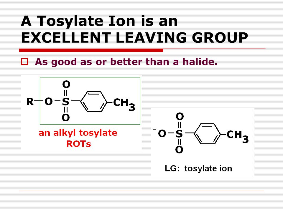 A Tosylate Ion is an EXCELLENT LEAVING GROUP  As good as or better than a halide.