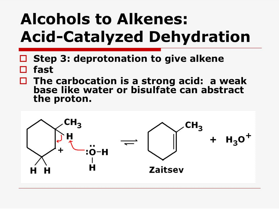  Step 3: deprotonation to give alkene  fast  The carbocation is a strong acid: a weak base like water or bisulfate can abstract the proton.