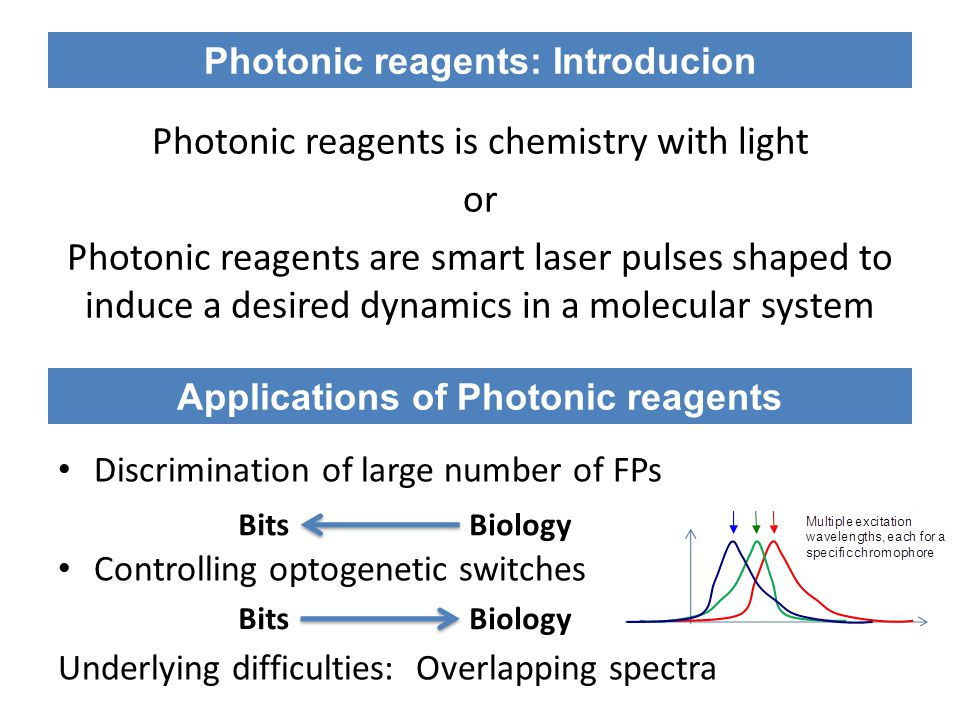 Photonic reagents is chemistry with light or Photonic reagents are smart laser pulses shaped to induce a desired dynamics in a molecular system Photonic reagents: Introducion Applications of Photonic reagents Discrimination of large number of FPs Controlling optogenetic switches Underlying difficulties: Overlapping spectra Bits Biology Bits Biology