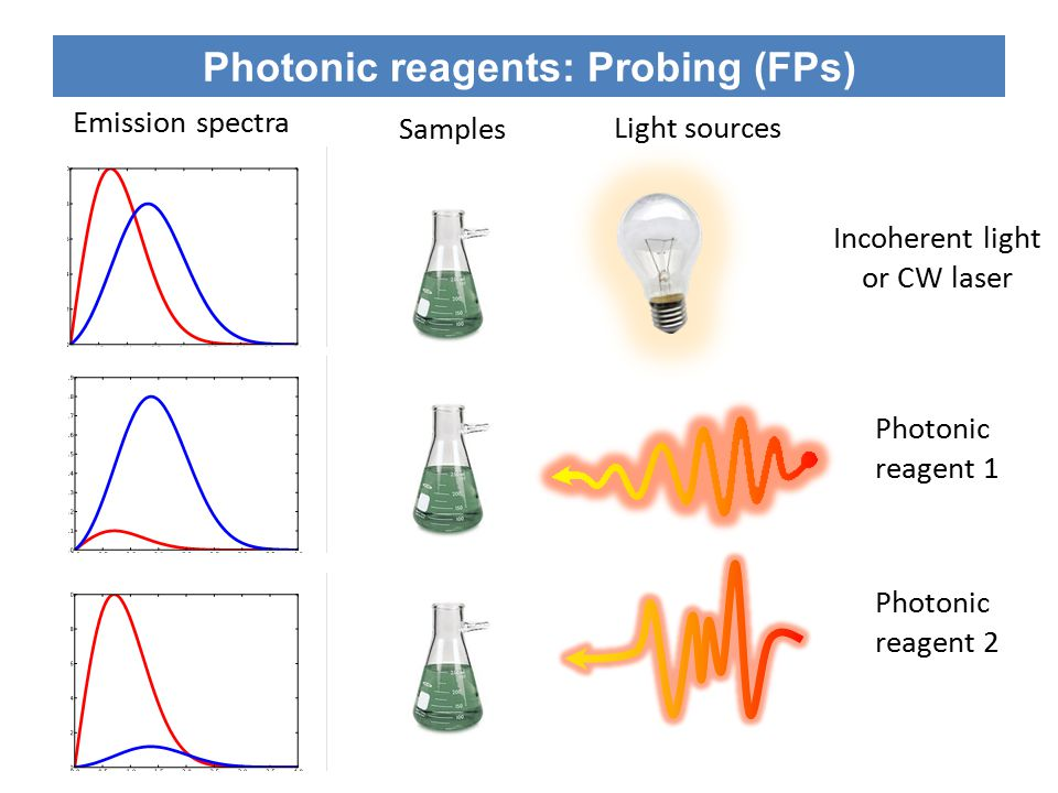 Photonic reagents: Probing (FPs) Excited electronic state Ground electronic state Photonic reagent Vibrational relaxation Fluorescence Energy