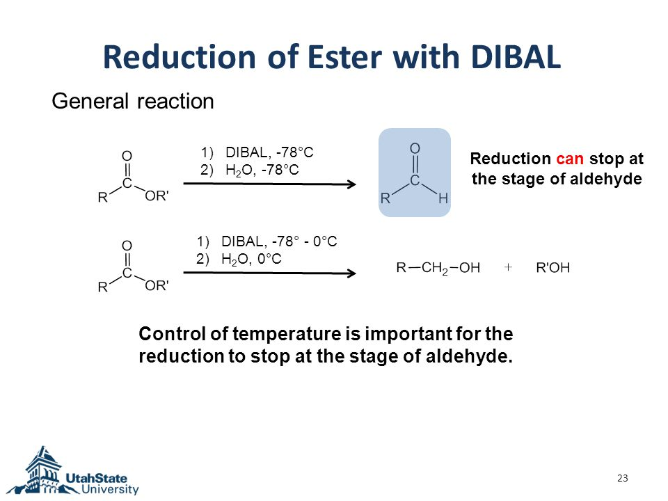 Reduction of Ester with DIBAL 23 General reaction 1)DIBAL, -78°C 2)H 2 O, -78°C 1)DIBAL, -78° - 0°C 2)H 2 O, 0°C Reduction can stop at the stage of aldehyde Control of temperature is important for the reduction to stop at the stage of aldehyde.