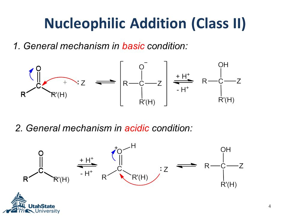 Nucleophilic Addition (Class II) 4 1. General mechanism in basic condition: 2.