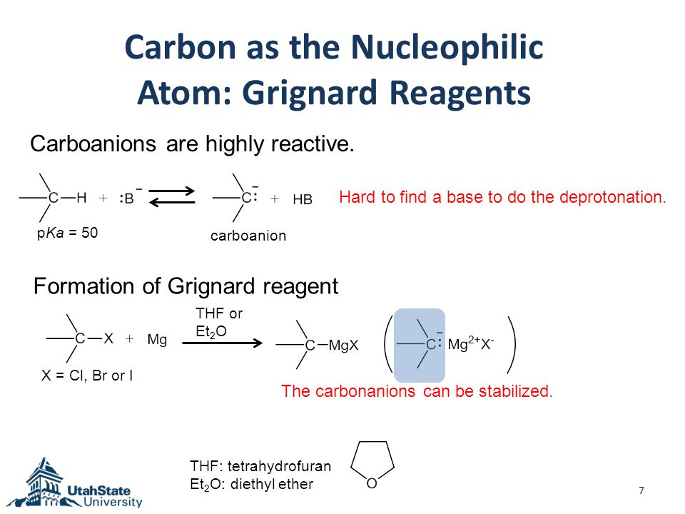 Carbon as the Nucleophilic Atom: Grignard Reagents 7 Carboanions are highly reactive.