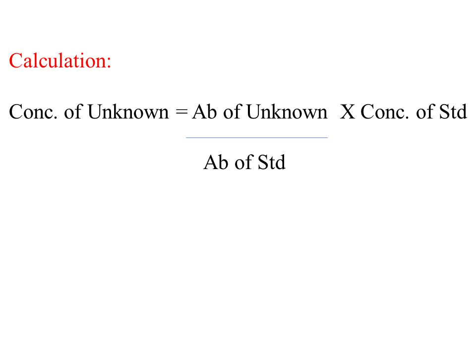 Calculation: Conc. of Unknown = Ab of Unknown X Conc. of Std Ab of Std