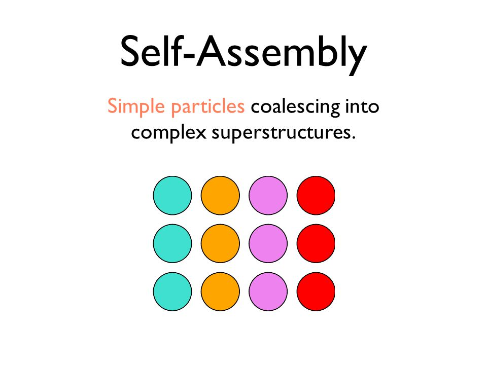 Simple particles coalescing into complex superstructures. Self-Assembly