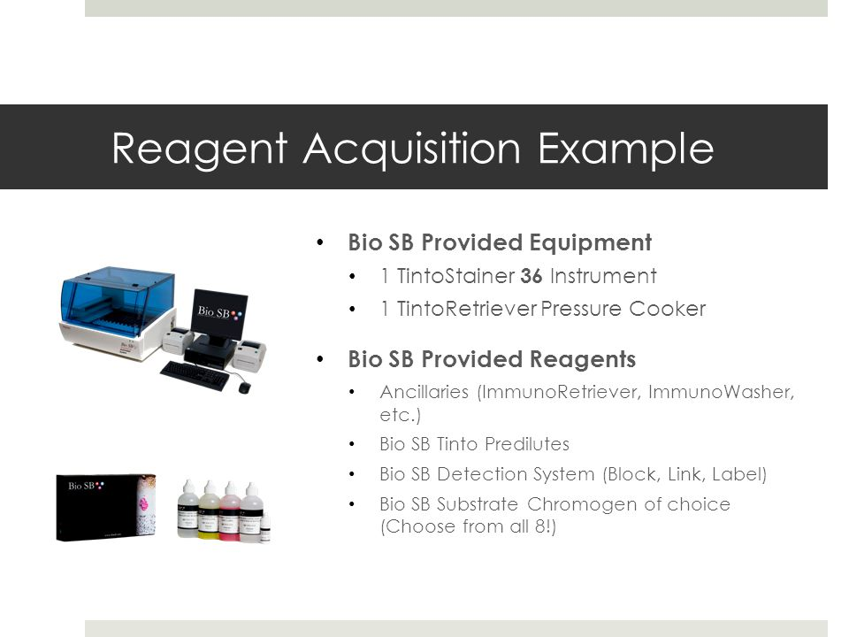 Reagent Acquisition Example Bio SB Provided Equipment 1 TintoStainer 36 Instrument 1 TintoRetriever Pressure Cooker Bio SB Provided Reagents Ancillaries (ImmunoRetriever, ImmunoWasher, etc.) Bio SB Tinto Predilutes Bio SB Detection System (Block, Link, Label) Bio SB Substrate Chromogen of choice (Choose from all 8!)