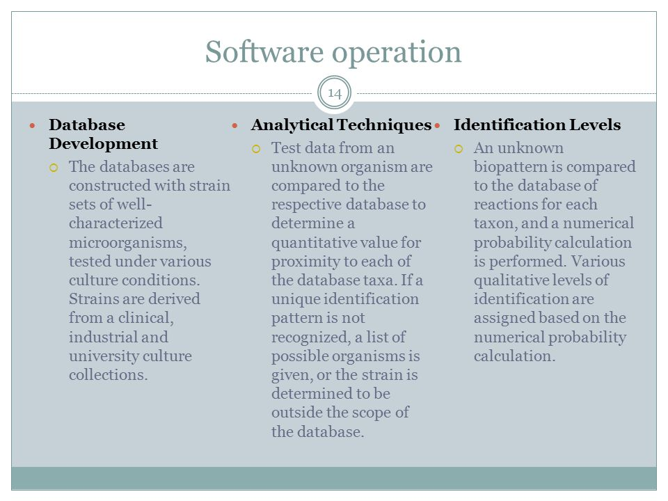 Software operation 14 Database Development  The databases are constructed with strain sets of well- characterized microorganisms, tested under variou