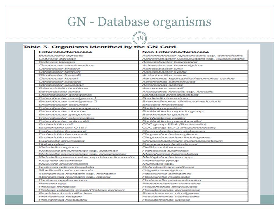 GN - Database organisms 18