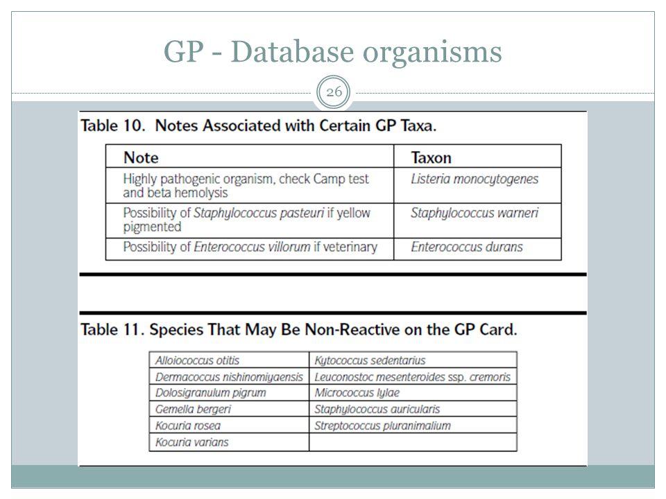 GP - Database organisms 26
