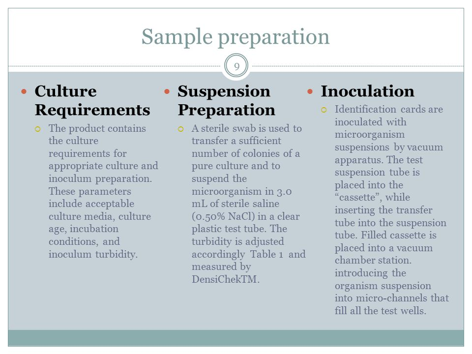 Sample preparation 9 Culture Requirements  The product contains the culture requirements for appropriate culture and inoculum preparation.