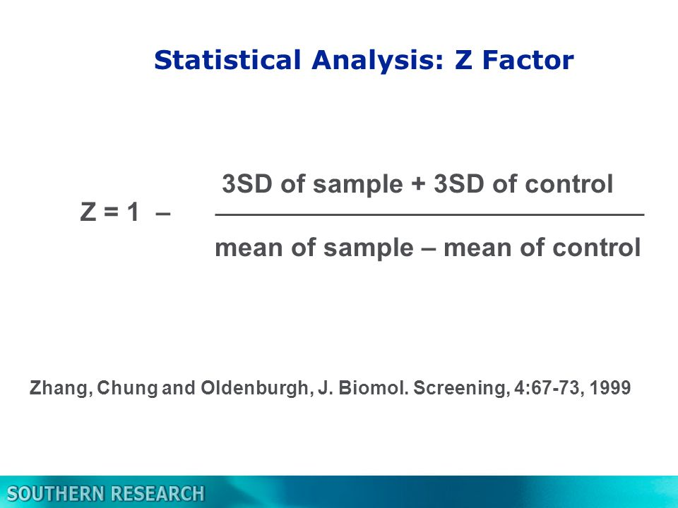 Statistical Analysis: Z Factor 3SD of sample + 3SD of control mean of sample – mean of control Z = 1 – Zhang, Chung and Oldenburgh, J.