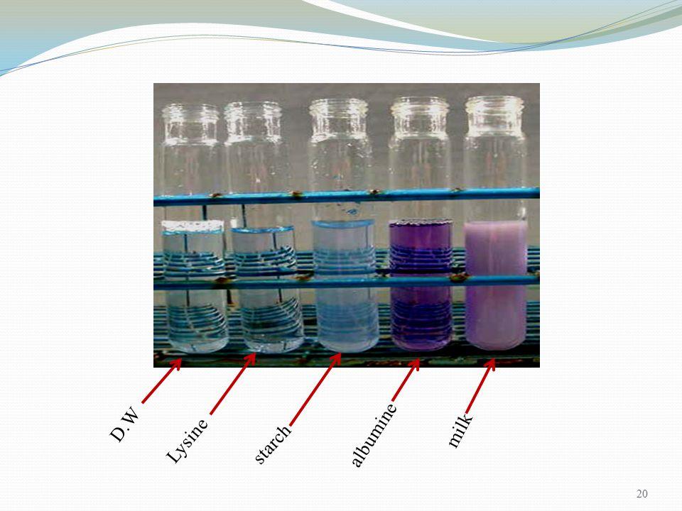 20 D.W milk Lysine starch albumine