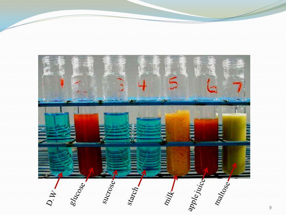 9 D.W glucose sucrose starch milk apple juice maltose