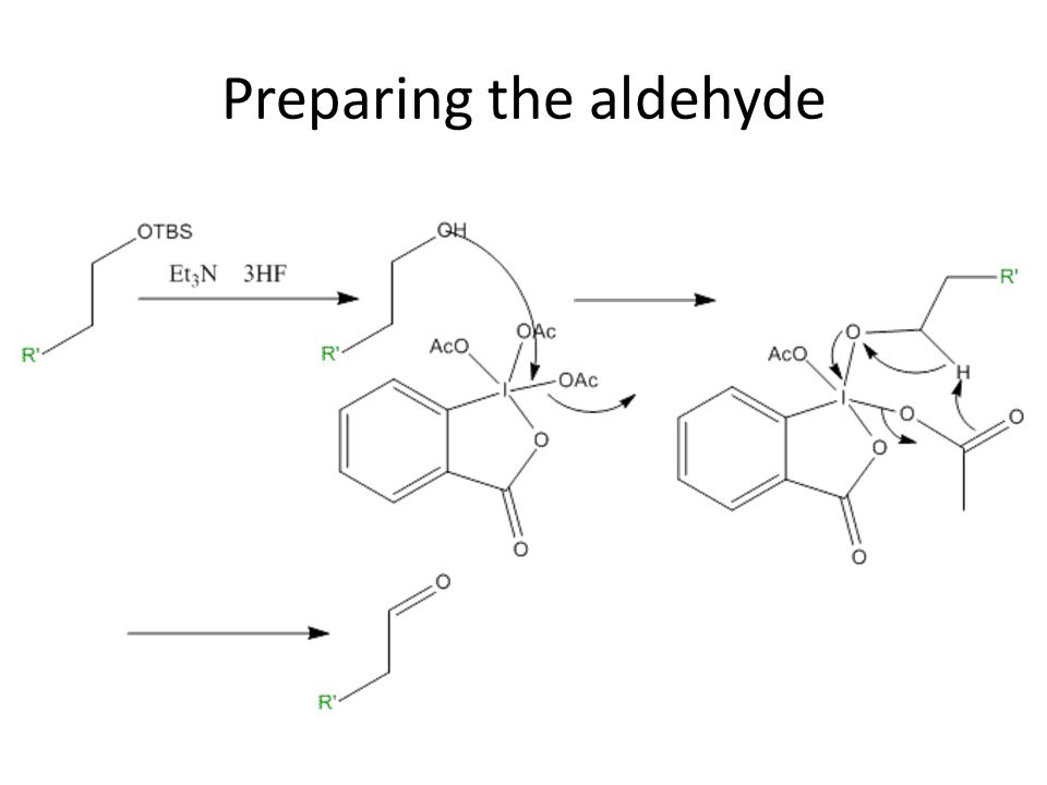 Preparing the aldehyde