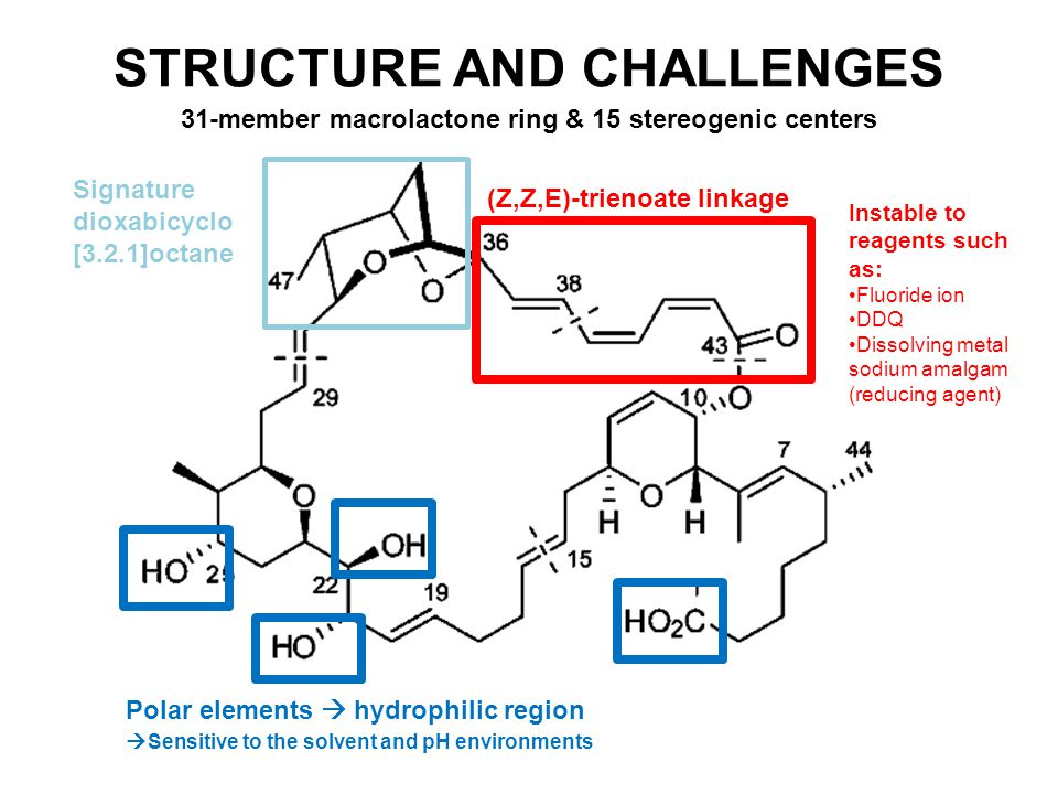 STRUCTURE AND CHALLENGES (Z,Z,E)-trienoate linkage Instable to reagents such as: Fluoride ion DDQ Dissolving metal sodium amalgam (reducing agent) 31-