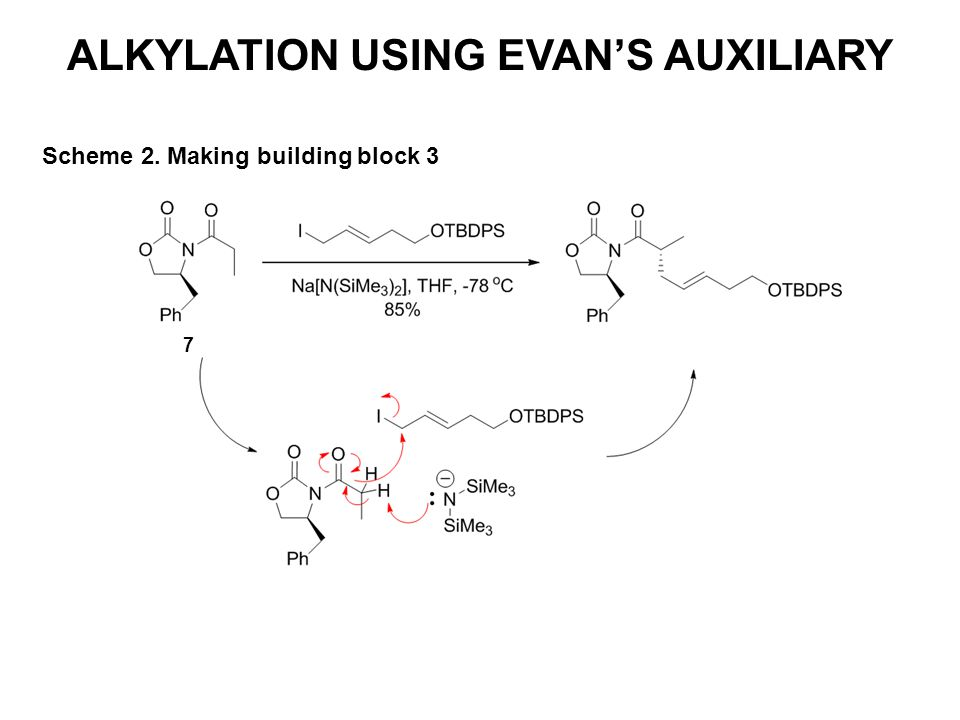 ALKYLATION USING EVAN'S AUXILIARY Scheme 2. Making building block 3 7