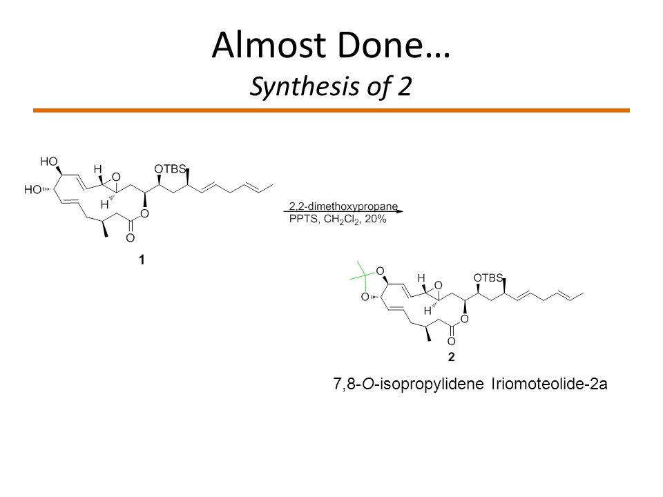 Almost Done… Synthesis of 2 7,8-O-isopropylidene Iriomoteolide-2a