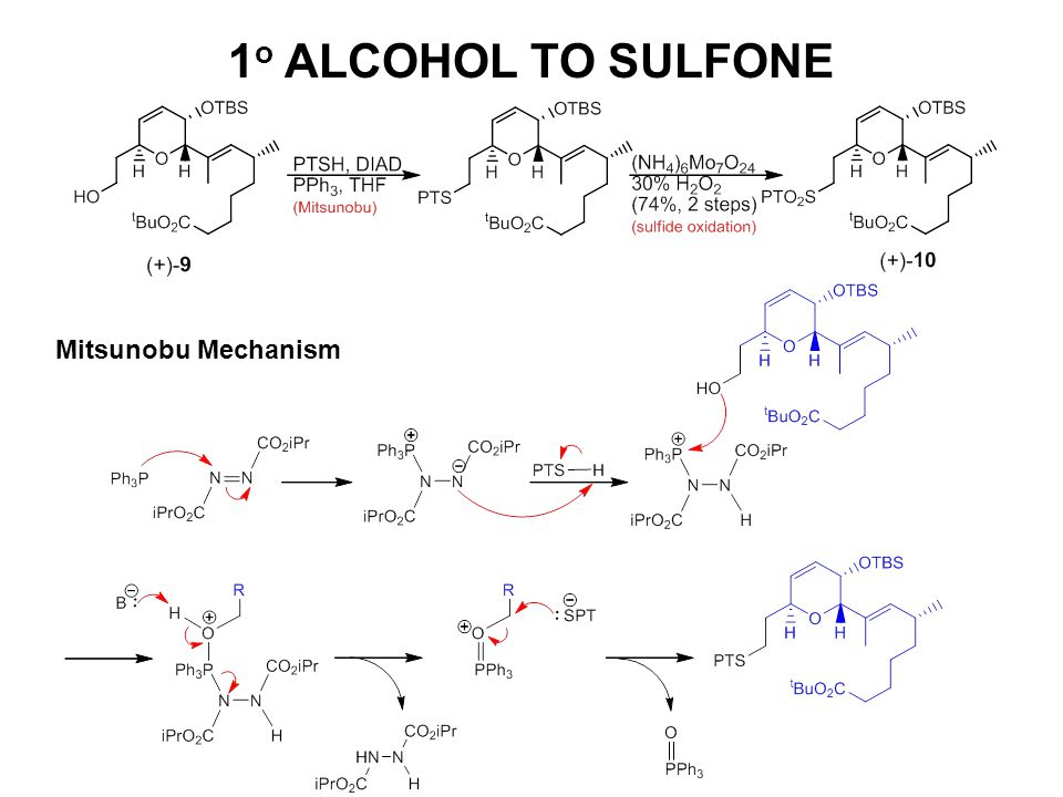 1 o ALCOHOL TO SULFONE Mitsunobu Mechanism