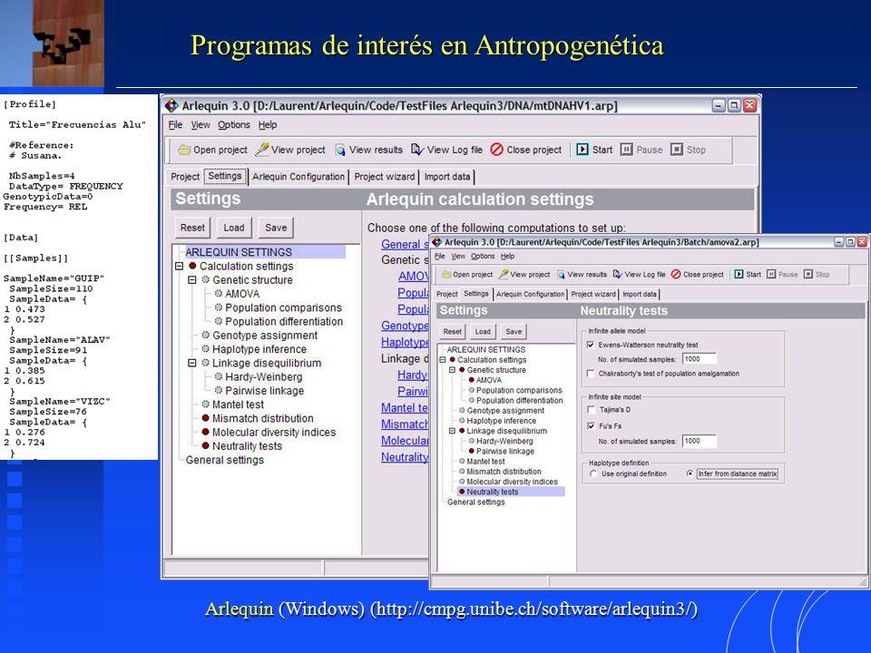 Programas de interés en Antropogenética Arlequin (Windows) (http://cmpg.unibe.ch/software/arlequin3/)
