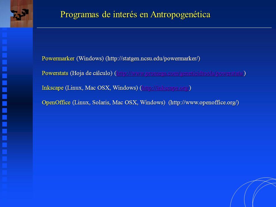 Programas de interés en Antropogenética Powermarker (Windows) (http://statgen.ncsu.edu/powermarker/) Powerstats (Hoja de cálculo) (http://www.promega.com/geneticidtools/powerstats/) http://www.promega.com/geneticidtools/powerstats/ Inkscape (Linux, Mac OSX, Windows) (http://inkscape.org/) http://inkscape.org/ OpenOffice (Linux, Solaris, Mac OSX, Windows) (http://www.openoffice.org/)