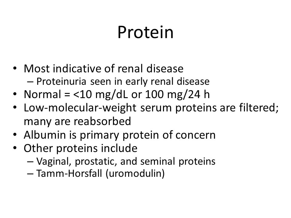 Most indicative of renal disease – Proteinuria seen in early renal disease Normal = <10 mg/dL or 100 mg/24 h Low-molecular-weight serum proteins are f
