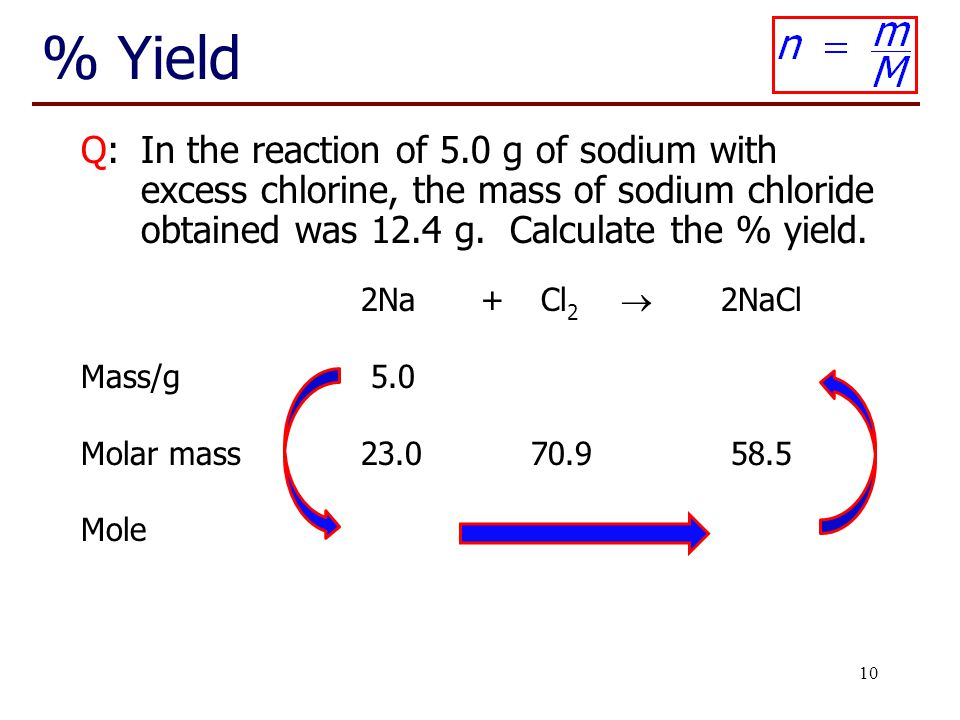 10 % Yield Q:In the reaction of 5.0 g of sodium with excess chlorine, the mass of sodium chloride obtained was 12.4 g. Calculate the % yield. 2Na+Cl 2