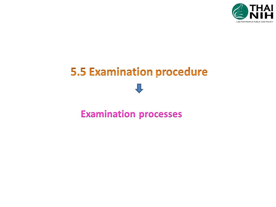 5.5Examination processes 5.5.1.1 amend 5.5.1.2 Amend/ new Selection, verification& validation procedures -preferred procedure: in vitro medical devices, published in established/authoritative textbook, peer-reviewed texts or journals or international consensus stds or guidelines - The identity of persons performing recorded Verification of exam procedure  validated procedure must be verified before use  info to be obtained from the manufacturer / method developer regarding the performance characteristics of the procedure  procedure of verification, the verification must confirm that the performance claim met and reviewed by appropriate staff