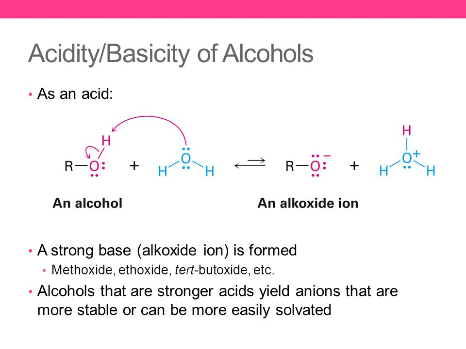 Acidity/Basicity of Alcohols As an acid: A strong base (alkoxide ion) is formed Methoxide, ethoxide, tert-butoxide, etc.