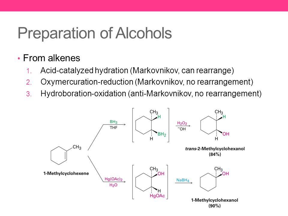 Preparation of Alcohols From alkenes 1. Acid-catalyzed hydration (Markovnikov, can rearrange) 2.