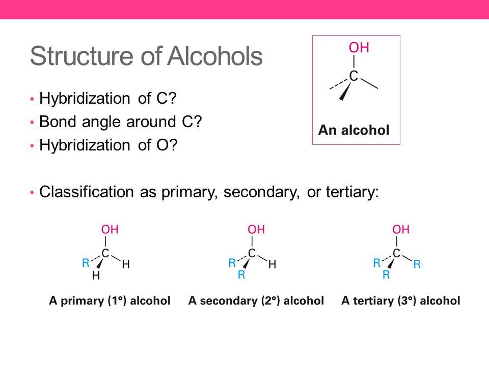 Structure of Alcohols Hybridization of C. Bond angle around C.