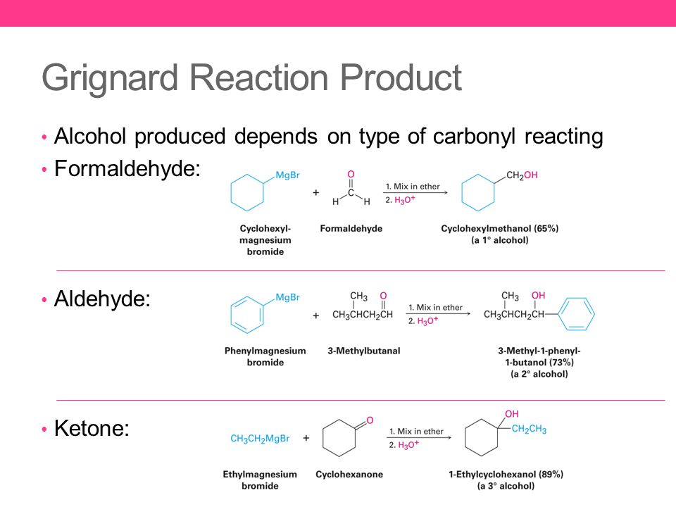 Grignard Reaction Product Alcohol produced depends on type of carbonyl reacting Formaldehyde: Aldehyde: Ketone: