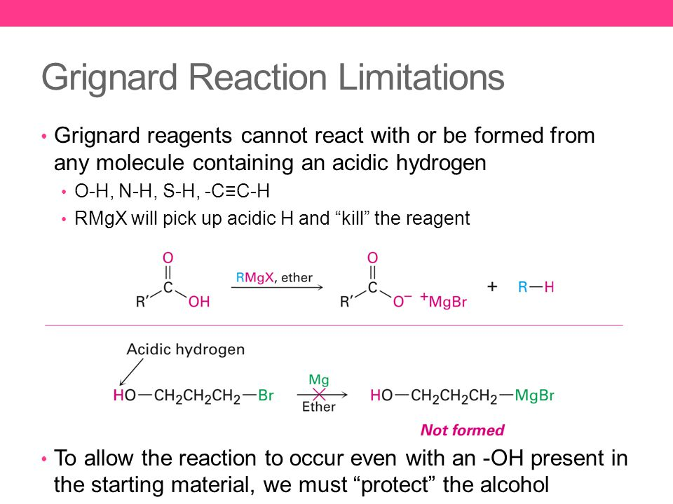 Grignard Reaction Limitations Grignard reagents cannot react with or be formed from any molecule containing an acidic hydrogen O-H, N-H, S-H, -C≡C-H RMgX will pick up acidic H and kill the reagent To allow the reaction to occur even with an -OH present in the starting material, we must protect the alcohol