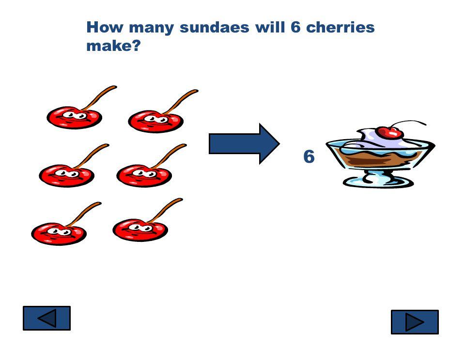 How many sundaes will 6 cherries make? 6
