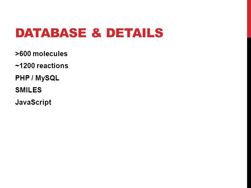 DATABASE & DETAILS >600 molecules ~1200 reactions PHP / MySQL SMILES JavaScript