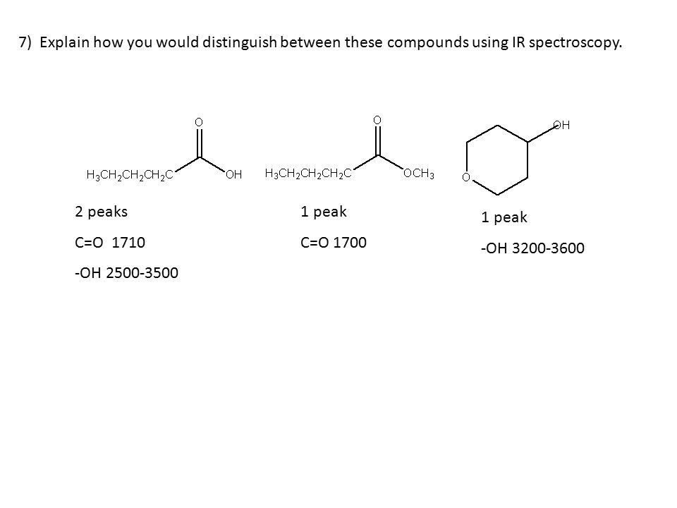 7) Explain how you would distinguish between these compounds using IR spectroscopy.