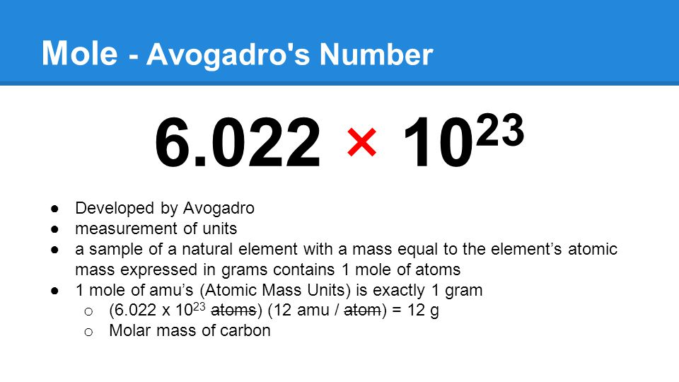 Mole - Avogadro s Number 6.022 × 10 23 ●Developed by Avogadro ●measurement of units ●a sample of a natural element with a mass equal to the element's atomic mass expressed in grams contains 1 mole of atoms ●1 mole of amu's (Atomic Mass Units) is exactly 1 gram o (6.022 x 10 23 atoms) (12 amu / atom) = 12 g o Molar mass of carbon