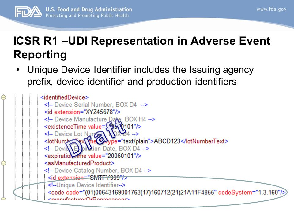 ICSR R1 –UDI Representation in Adverse Event Reporting Unique Device Identifier includes the Issuing agency prefix, device identifier and production identifiers