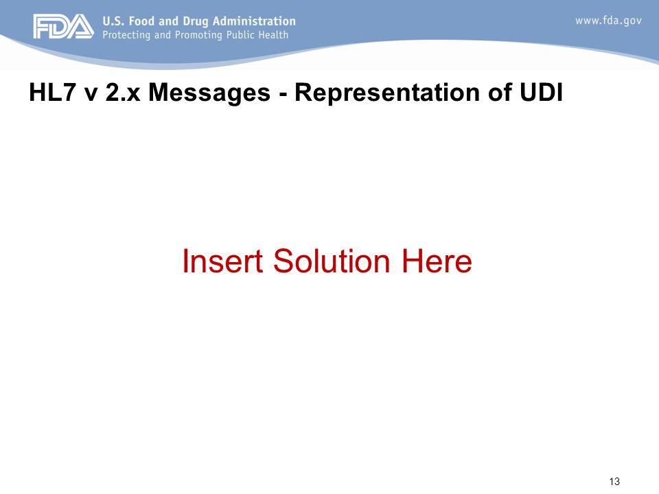 HL7 v 2.x Messages - Representation of UDI Insert Solution Here 13