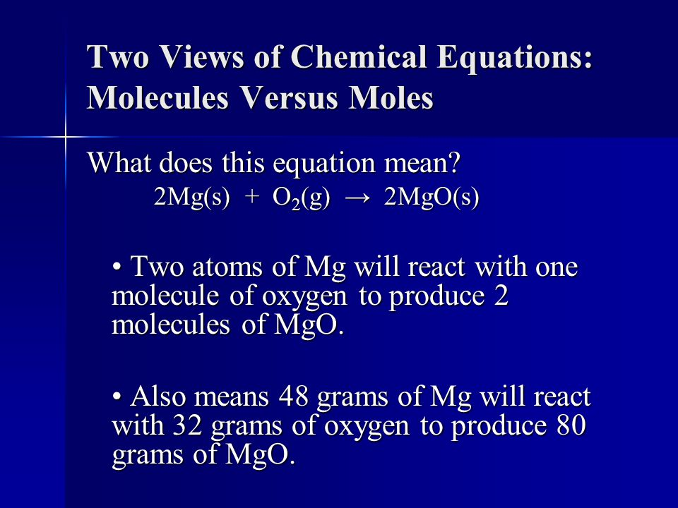 Two Views of Chemical Equations: Molecules Versus Moles What does this equation mean.
