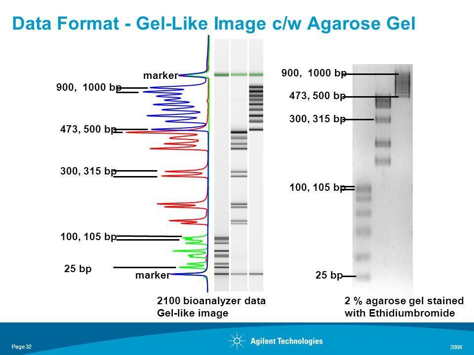 Page 32 2008 marker 25 bp 473, 500 bp 100, 105 bp 300, 315 bp 900, 1000 bp 2100 bioanalyzer data Gel-like image 25 bp 473, 500 bp 100, 105 bp 300, 315 bp 900, 1000 bp 2 % agarose gel stained with Ethidiumbromide Data Format - Gel-Like Image c/w Agarose Gel