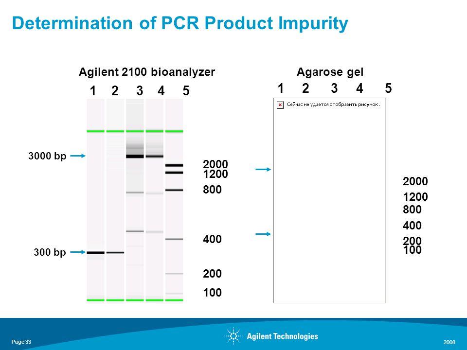 Page 33 2008 1 2 3 4 5 2000 1200 200 800 400 100 1 2 3 4 5 2000 1200 200 800 400 100 Agilent 2100 bioanalyzerAgarose gel 300 bp 3000 bp Determination of PCR Product Impurity