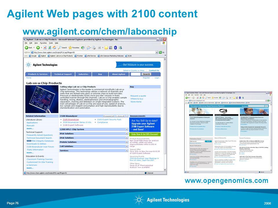 Page 76 2008 Agilent Web pages with 2100 content www.opengenomics.com www.agilent.com/chem/labonachip