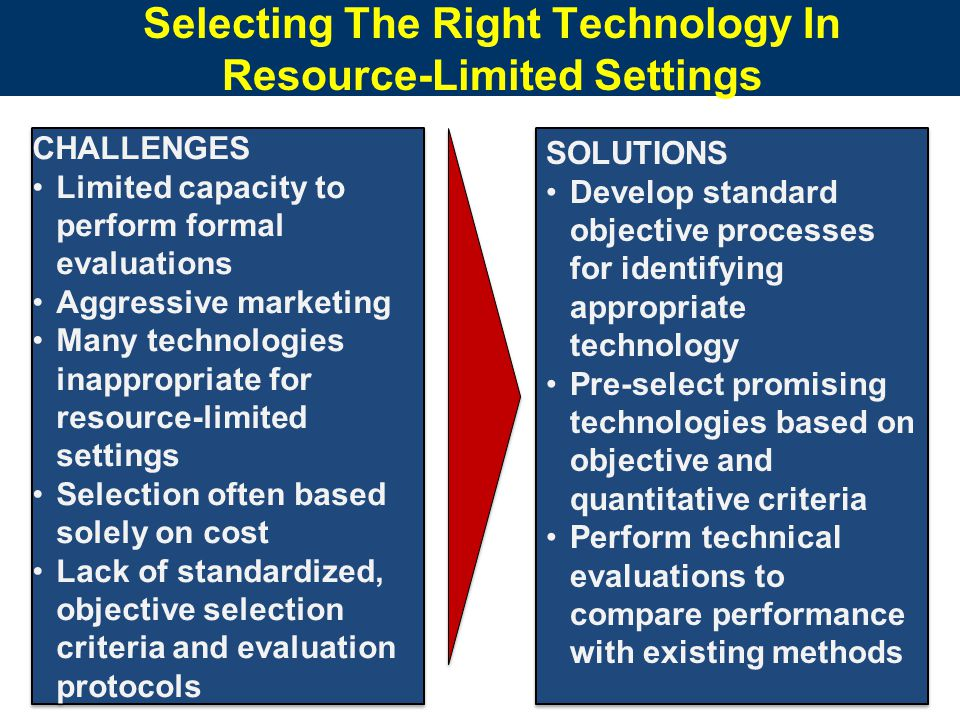 Selecting The Right Technology In Resource-Limited Settings CHALLENGES Limited capacity to perform formal evaluations Aggressive marketing Many technologies inappropriate for resource-limited settings Selection often based solely on cost Lack of standardized, objective selection criteria and evaluation protocols CHALLENGES Limited capacity to perform formal evaluations Aggressive marketing Many technologies inappropriate for resource-limited settings Selection often based solely on cost Lack of standardized, objective selection criteria and evaluation protocols SOLUTIONS Develop standard objective processes for identifying appropriate technology Pre-select promising technologies based on objective and quantitative criteria Perform technical evaluations to compare performance with existing methods SOLUTIONS Develop standard objective processes for identifying appropriate technology Pre-select promising technologies based on objective and quantitative criteria Perform technical evaluations to compare performance with existing methods