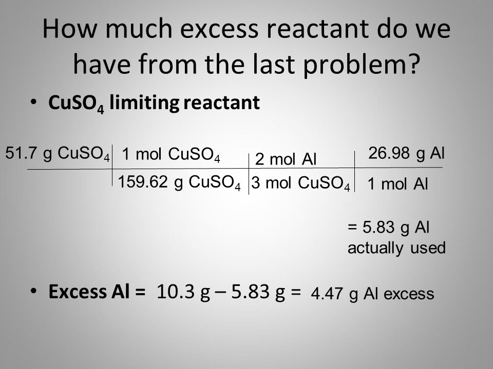 How much excess reactant do we have from the last problem? CuSO 4 limiting reactant Excess Al = 10.3 g – 5.83 g = 51.7 g CuSO 4 159.62 g CuSO 4 1 mol