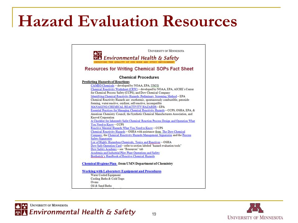 Hazard Evaluation Resources 19